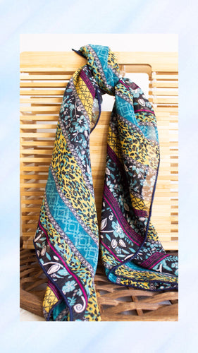Blue Floral Hair Scarf - Shop Floresa Trendy Women's Clothing