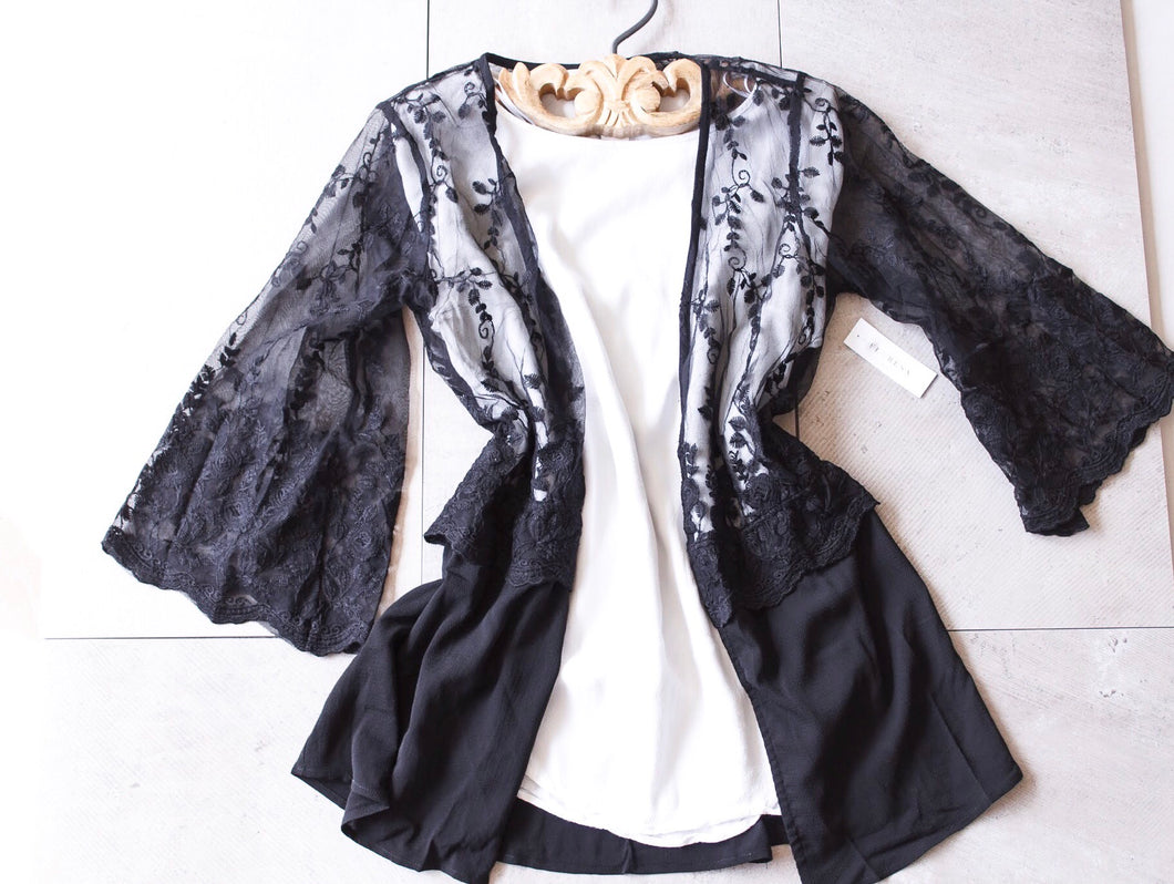 All Black Lace Cardigan - Shop Floresa Trendy Women's Clothing