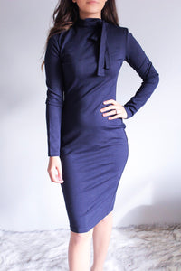 Navy Bow Neck Tie Bodycon Dress - Shop Floresa Trendy Women's Clothing