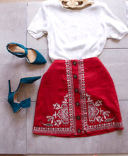 Load image into Gallery viewer, Red Embroidered Skirt - Shop Floresa Trendy Women's Clothing