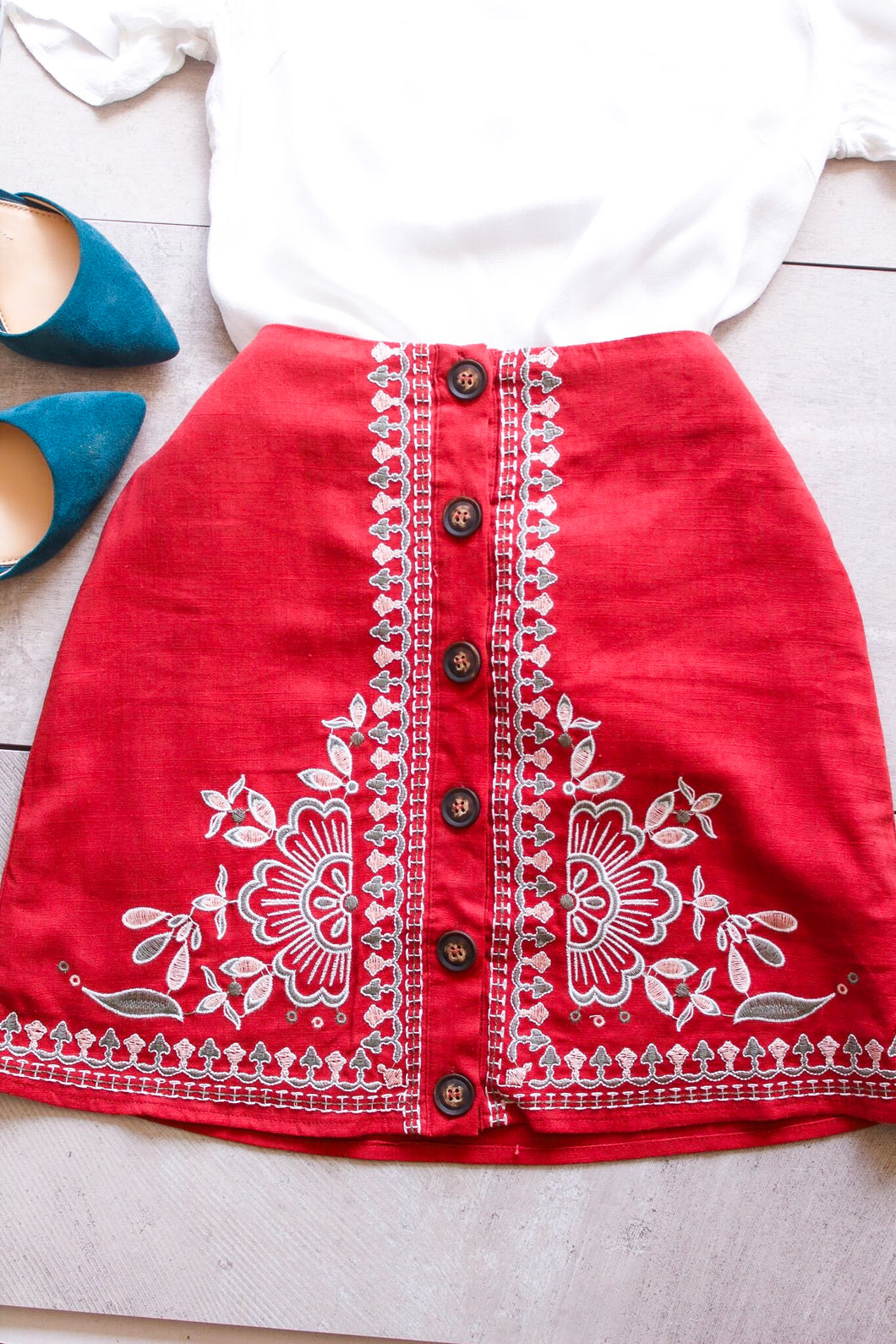 Red Embroidered Skirt - Shop Floresa Trendy Women's Clothing