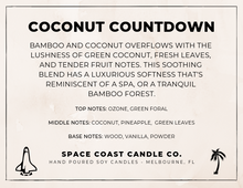 Load image into Gallery viewer, Coconut Countdown - 10 oz Soy Candle (Jar) - Space Coast Candle Co.