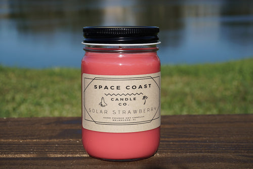 Solar Strawberry - 10 oz. Soy Candle (Jar) - Space Coast Candle Co.