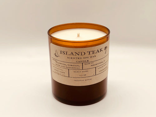 Island Teak 10 oz Soy Candle - Uncharted Collection - Space Coast Candle Co.