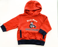 Gymboree dark orange & navy with motorbike hooded sweater size 12-24 months