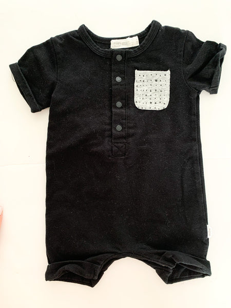Miles Baby black short sleeve romper size 3 months