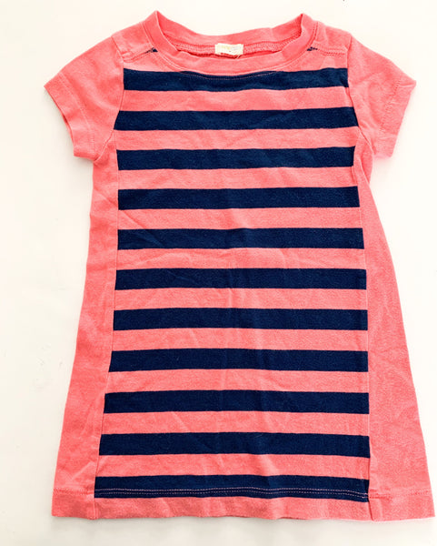 Crewcuts pink & blue stripe shirt dress size: 3-4Y