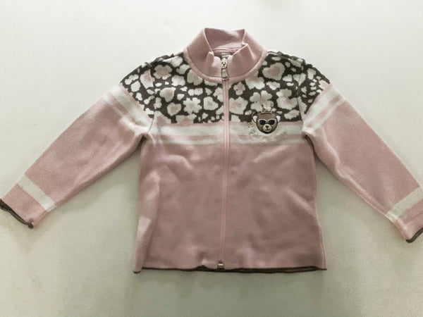 Poivre Blanc pink zip up with leopard print sweater size 2T