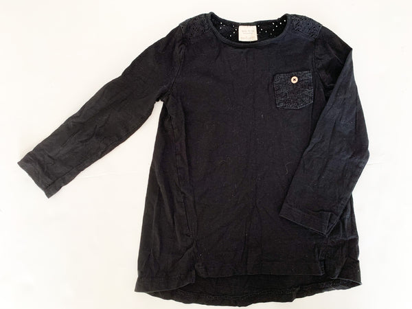 Zara black LS shirt w-embroidered pocket    (Size 4)