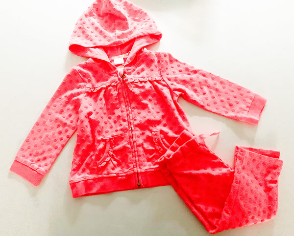 Billieblush neon pink polka dot hoodie & leggings set size 2Y