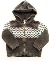 Tea grey fairisle knit zip up hoodie (size 3)