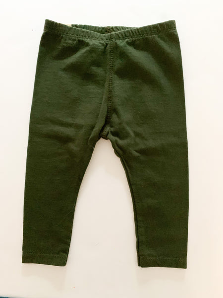 Mini Mioche forest green 100%organic cotton leggings (3-6 months)
