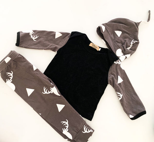 Cat papa grey and black antler set (12-18 months)