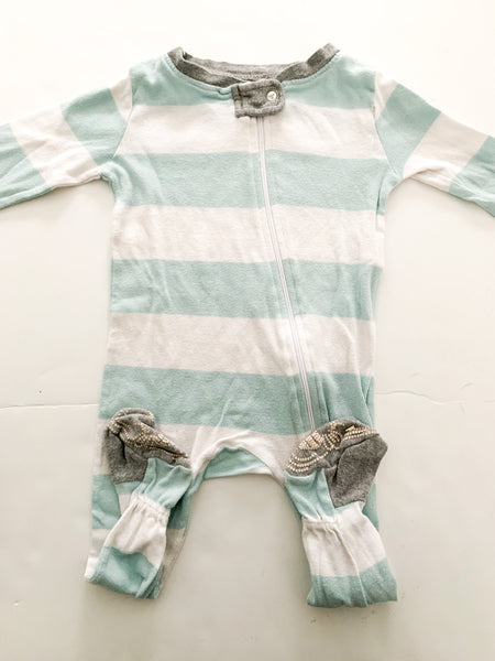 Burts bee blue and white stripe zipper sleeper (12 months)