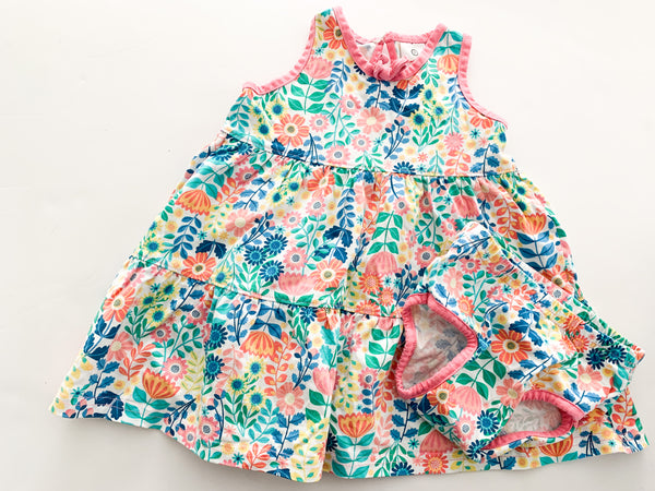 Tea peach color print floral dress with onesie attached (12-18 months)
