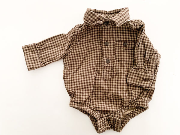 Gap brown plaid print button down onesie (0-3 months)