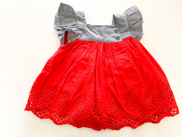 Gap red embroidered dress w/denim top (0-3 months)