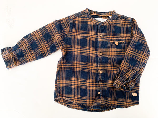 Zara fleece plaid button shirt (18-24 months)