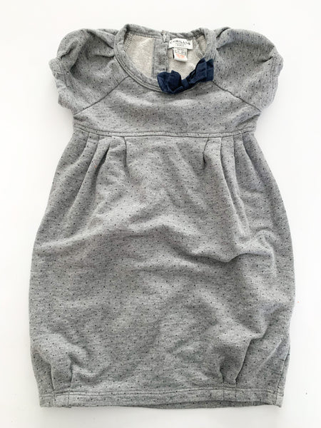 Cyrillus Paris grey pin dot sweater dress with navy bow size: 3A/94