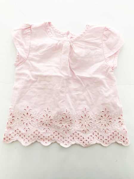 Joe fresh pink shirt w/ embroidery (3-6 months)