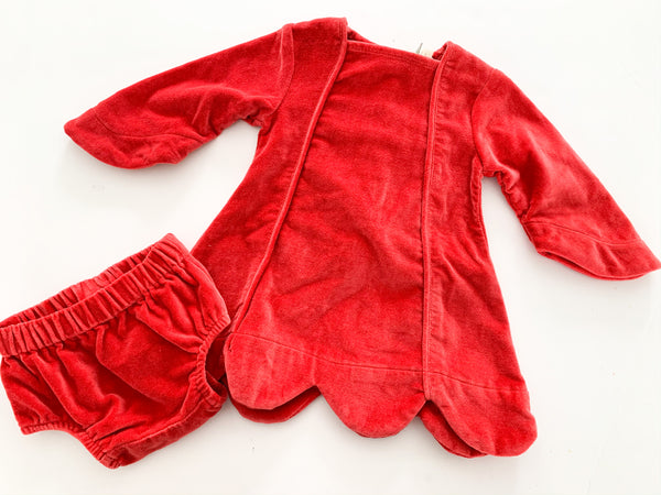 Kate Quinn red velvet dress with bloomers( 12-18 months )
