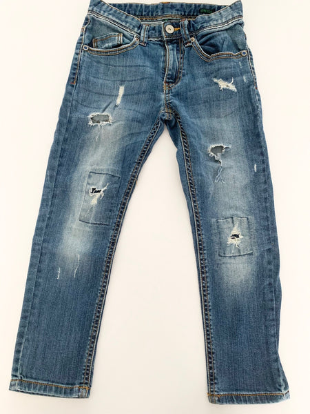 Benetton light distressed denim jeans with rips