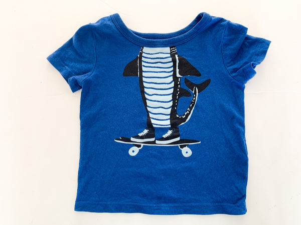 Joe fresh blue shark on skateboard tee shirt (12-18 months)