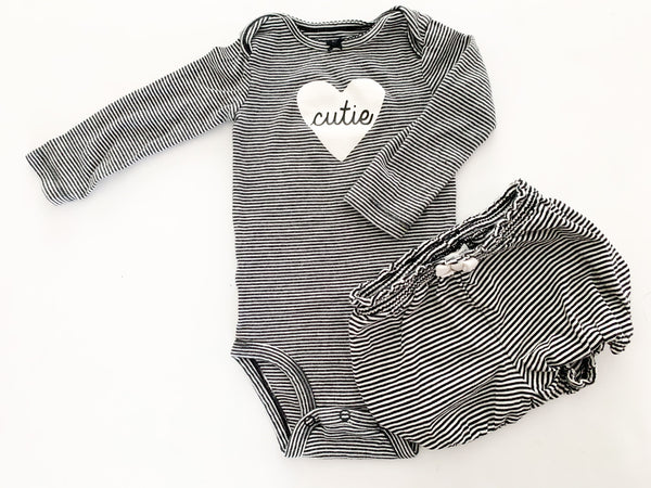 "Carter's stripe ""cutie"" long sleeve bodysuit size 12months"