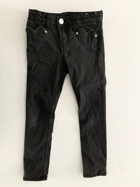 HM a black denim skinny with heart pockets (size 3/4)