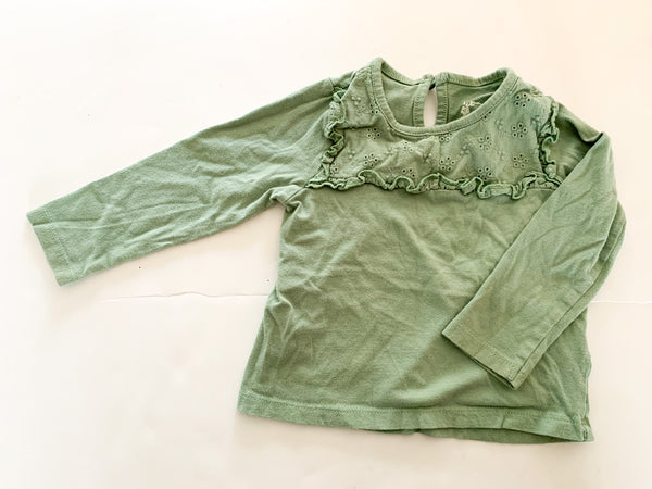 Primark sage coloured long sleeve shirt with eyelet details size 9-12 months