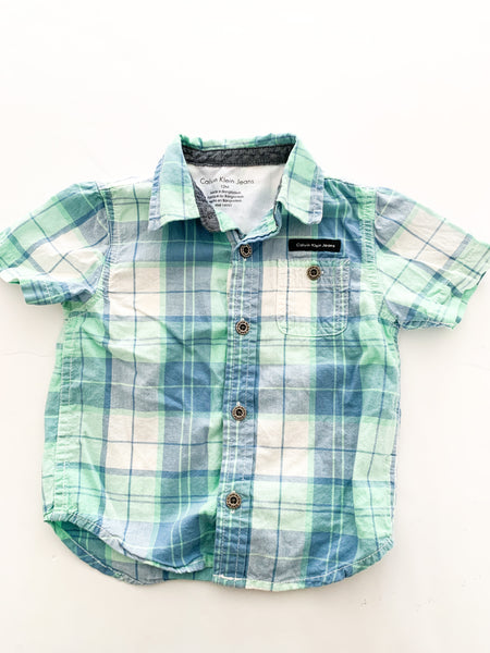 Calvin Klein plaid button shirt (12 months)