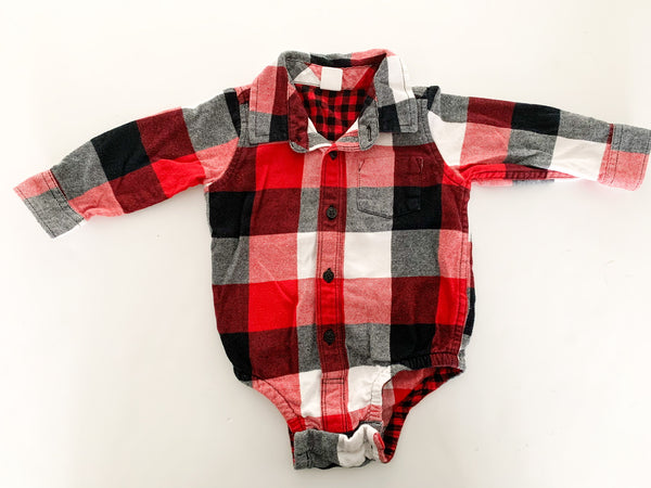 Baby Gap flannel long sleeve bodysuit size 12-18 months