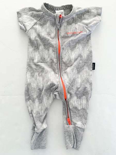 Bonds light grey wonder suit w/white print  (newborn)
