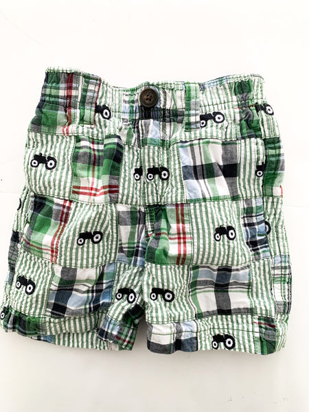 Gymboree green plaid tractor shorts  (6 -12 months)
