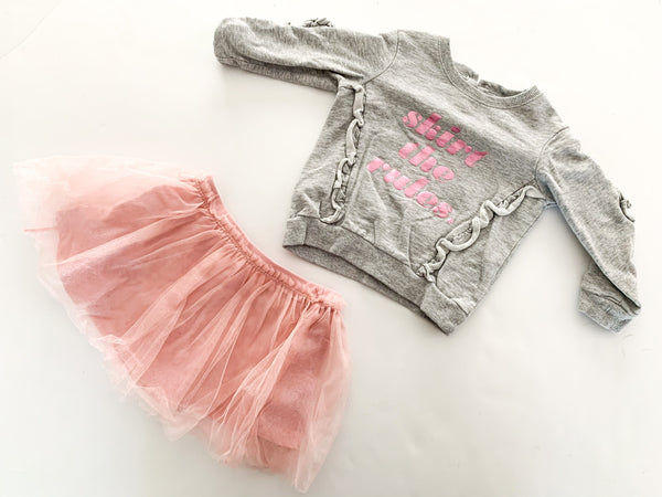 Kate Spade grey sweater with pink tulle skirt set size 18 months