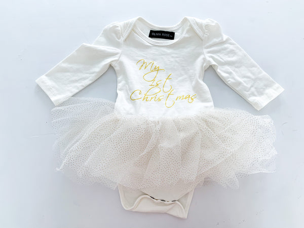 Olivia rose first Christmas tulle dress  (3-6 months)