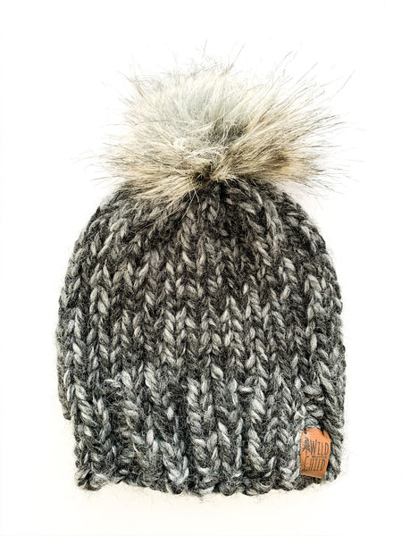 Wild Child  graphite knit pom pom toque newborn