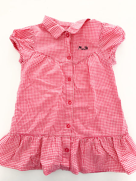 Mexx pink gingham short sleeve collared dress size 24-30 months