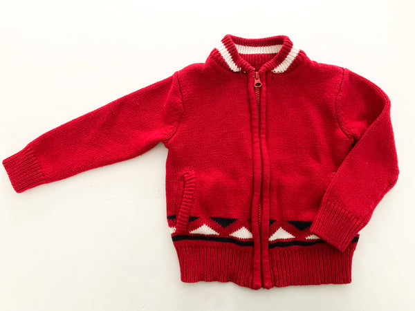 Joe fresh red knit zip up sweater with hockey sticks (size 2)