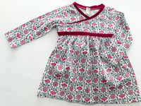 Tea ivory dress with neon pink flowers w/bloomers(12-18 months)