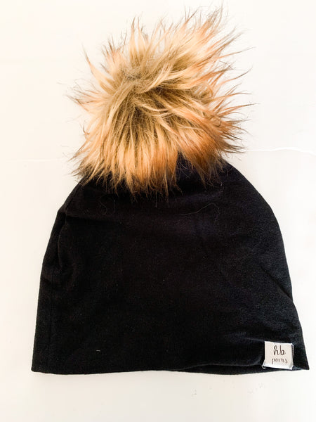 HB Poms black beanie toque with faux fur pom size one size