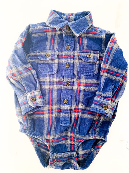 OshKosh B'gosh plaid long sleeve collared 100% cotton bodysuit size 18 months