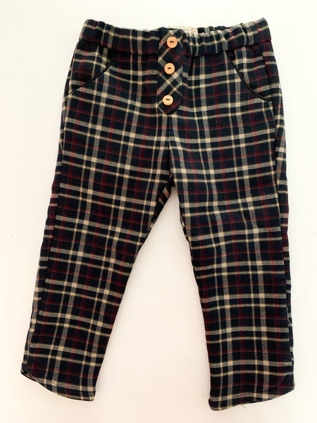 Zara navy plaid print pants (18-24 months)