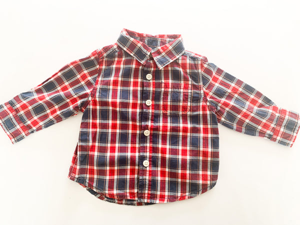 Joe fresh red and blue plaid LS button down shirt (6-12 months)