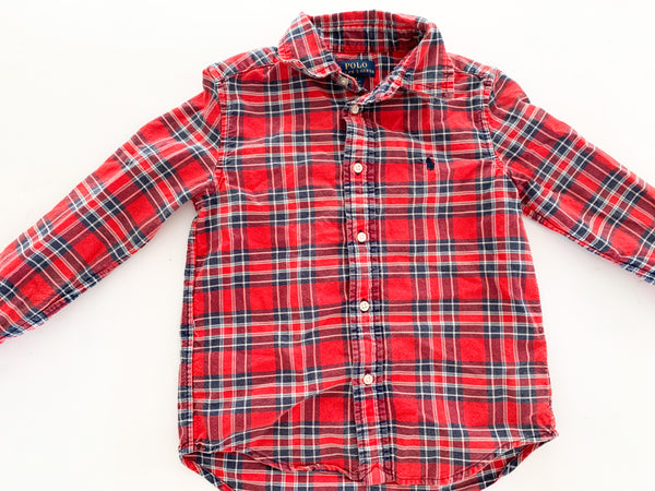 Polo red plaid LS button shirt (size 5)