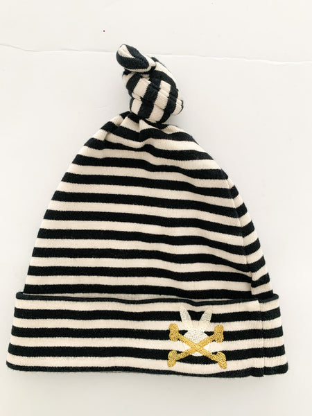 No Added Sugar black & cream stripe cotton toque size o/s