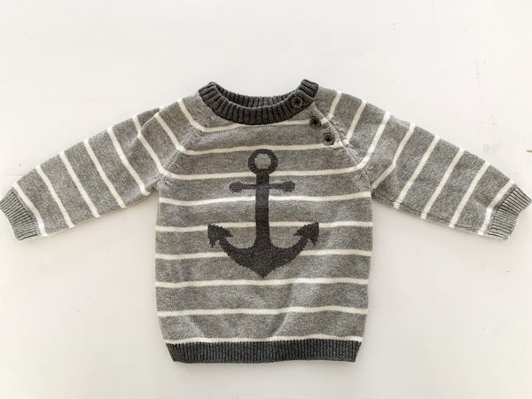H&M grey stripe sweater with anchor & elbow patch detail  size 4-6 months
