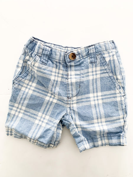 Baby b'gosh blue and white plaid shorts  (6 months)