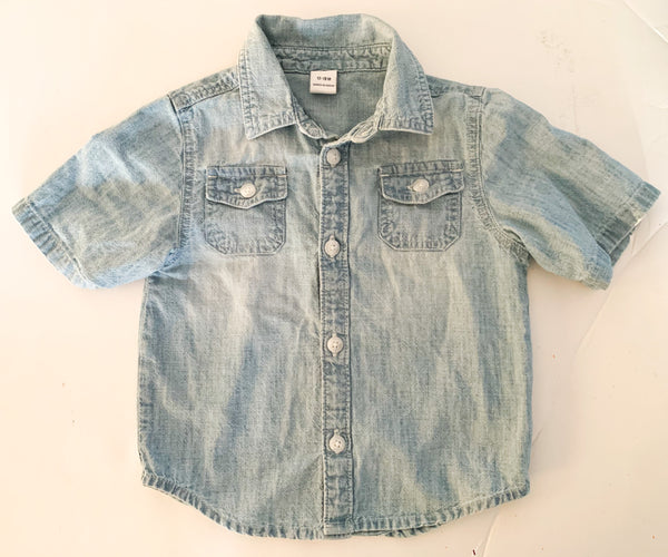 Old navy denim short sleeve button shirt  (12/18 months)