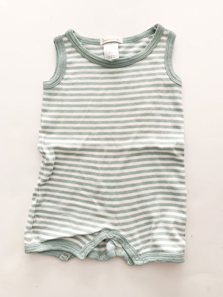 Beanstork green & white stripe romper ( 1month)